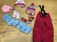 Winter Bundle - Gloves, Hats and Salopette Trousers (Next age 7-8)