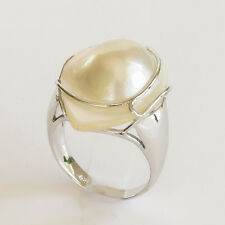 MABE PEARL RING TEARDROP AUSTRALIAN MABE HANDMADE 925 SILVER RING SIZE R NEW