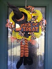 HALLOWEEN Deco Mesh & Ribbon Witch & Candy Corn Trick or Treat