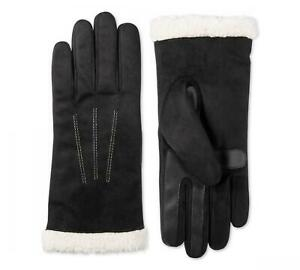 NWT Isotoner Signature smartDRI® Touchscreen Gloves SherpaSoft Cuff Black L/XL
