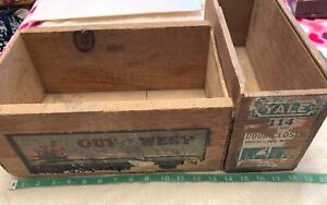 """Lot of 2~Vintage~1 DOVETAIL~WOOD+PAPER LABEL~14x9"""" Fruit Crate Box +YALE 14x7"""""""