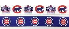 "1"" INCH 25mm CHICAGO CUBS WORLD SERIES GROSGRAIN RIBBON 10 YDS - 5 YDS OF EACH"