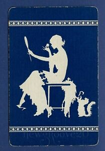 Deco Silhouette Lady, Navy Blue • Pin Ups • GENUINE VINTAGE SWAP PLAYING CARD