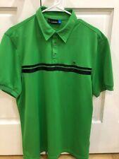 Men's J. Lindeberg Golf Polo Green/Black Stripe, Size L - GREAT condition!