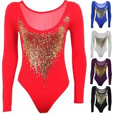 Womens Gold Sequin Long Sleeve Mesh Insert Low Back Leotard Ladies Bodysuit