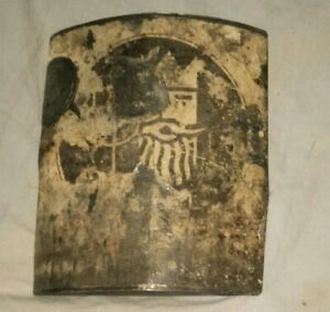 OLD! 1950s KING NEPTUNE OIL PETROL CURVED OIL CAN SIGN SHELL OIL STAMP AUSTRALIA