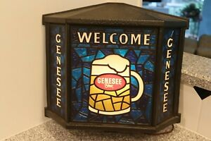 GENESEE BEER HANGING BAR LIGHTED SIGN MAN CAVE