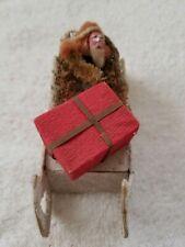 Antique German Santa Claus On Sled Christmas Ornament