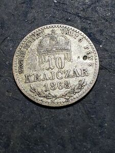 1868 GYF Hungary 10 Krajczar Silver Foreign Coin ***LOW MINTAGE KEY COIN***