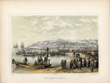 ANTIQUE PRINT - GORAHAMA - JAPAN- W.Heine- 1857
