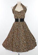 Vivien of Holloway 1950s 'Leopard Brown' Halterneck Circle Dress. UK 18