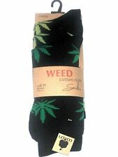 Mens weed socks, 3 pairs, superb cotton rich pack buy, hiphop urban bling  6-11