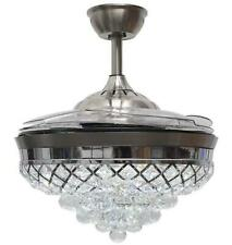 "Silver 42"" Remote Retractable Ceiling Fans LED Light Crystal Chandelier Fixtures"