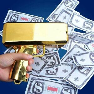 Cash Cannon Money Gold Gun 100pcs Replica Toy Bills Beach Party April Fool Game