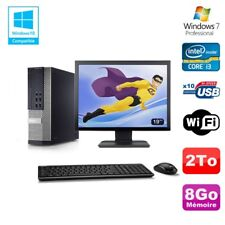 Lot PC DELL 790 SFF Intel Core i3-2120 3.3Ghz 8Go 2To WIFI W7 Pro + Ecran 19""