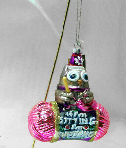 Owl KNITTING Pink Yarn Needle Glass Christmas Ornament  – New, As Is
