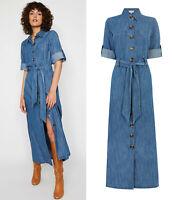 Warehouse NEW Mid Wash Maxi Denim Shirt Dress Sizes 8 to 16