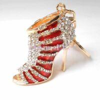 Rhinestone High Heel Shoe Keychain Crystal Bag Purse Charms Car Bling Accessory