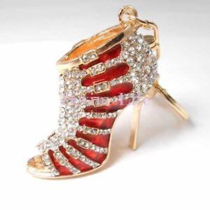 Rhinestone High Heel Shoe Keychain, Crystal Bag Purse Charm, Car Bling Accessory