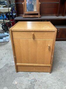 Vintage Oak Effect Bedside Unit Cupboard Cabinet with Drawer