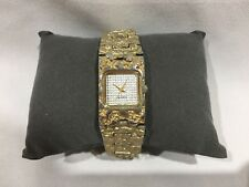 LADIES' WRISTWATCH SILVER AND GOLD COLORED WATCH WITH STONE-LIKE TEXTURE-LINKS