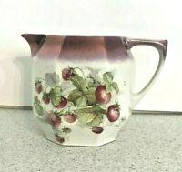 Vintage Porcelain Strawberry Motif Pitcher Lustre Finish Serving Jug Germany