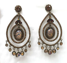 Butler and Wilson Topaz Cabochon & Crystal Large Gala  Earrings Vintage NEW