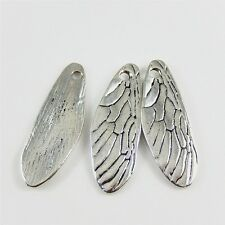 02630 Antiqued Silver Vintage Alloy Dragonfly Cicada Wing Pendant Charms 20pcs