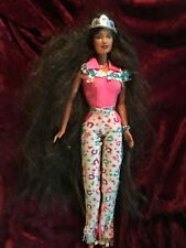 Vintage Barbie 1966 Malaysia. Extra long brunette hair, jewelry and crown.  #35