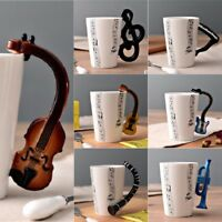 Creative Guitar Horn Music Note Cup Ceramic Coffee Tea Milk Novelty Mug Cup 1pc