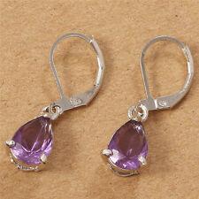 Women 925 Silver Amethyst Drop Dangle Earrings Wedding Jewelry Fashion