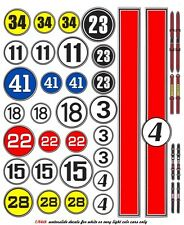 Race Car Numbers 1/64th HO Scale Slot Car Waterslide Decals