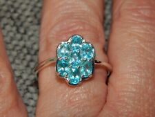 PARAIBA APATITE FLORAL CLUSTER RING-SIZE P-1.250CTS-STERLING SILVER 925