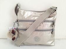 BNEW Authentic KIPLING Kylee HB6520 Crossbody Sling Travel Bag Silver Beige