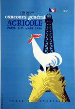 Affiche originale ancienne entoilée - Salon de la machine agricole 1956 -