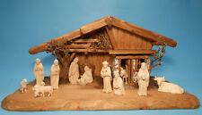große Krippe Krippenstall Christi Geburt + 11 Figuren geschnitzt naturbelassen