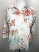 Women's Chico's Size 2 L Blue Pink White Floral 3/4 Sleeve Top Buttons