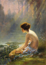 Seated Nude at Lily Pond  by Louis Comfort Tiffany  Giclee Canvas Print Repro