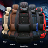 9Pcs Breathable PU Leather Car 5 Seat Cushion Cover Set Full Surround Seat Pad