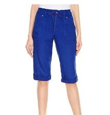 INC Plus Sz 22w Linen Skimmer Button & Drawstring Shorts Blue NWT