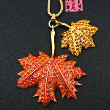 Betsey Johnson Orange Yellow Crystal Maple Leaf Enamel Sweater Chain Necklace