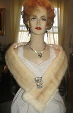 """PALOMINO CROSS MINK FUR WRAP SCARF TRIMMED WITH WHITE ERMINE 54""""x 5"""""""