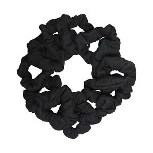Twelve Soft Cotton Scrunchies Stretchy Cute Black Hair Twisters Ponytail Holders