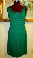 M.S.S.P. GREEN/NAVY TRIM PLEATED SLEEVELESS 92%COTTON/8%SPANDEX KNIT DRESS SZ S