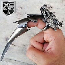 "6"" WOLF HEAD CLAW Blade Finger Ring IRON REAVER ARMOR Fantasy Knife COMBAT"