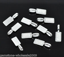 50PCS Wholesale W09 Lots Silver Plated Tag Glue on Bail 21x7mm