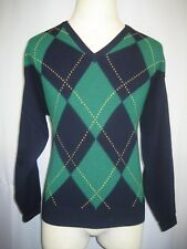 Mens Vntg Northern Isles Geelong Lambswool Argyle V-Neck Pullover Sweater sz Lg