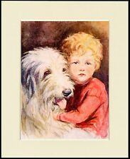 OLD ENGLISH SHEEPDOG AND BOY LOVELY DOG PRINT MOUNTED READY TO FRAME