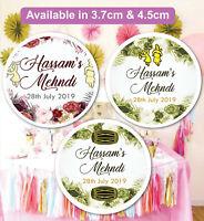 Personalised Wedding MEHNDI Celebration Stickers Labels GLOSS MATT in Q24 /& 35