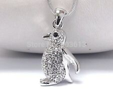 FREE GIFT BAG Silver Plated Rhinestone Crystal Penguin Necklace Chain Jewellery